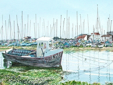 Mudeford Quay with Fishing Boat & Dinghy Park