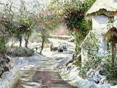 Snow Covered Thatch Cottage, Lustleigh, Devon