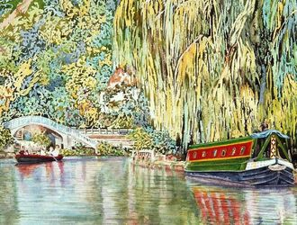 Narrow Boats on the River Wey, Guildford