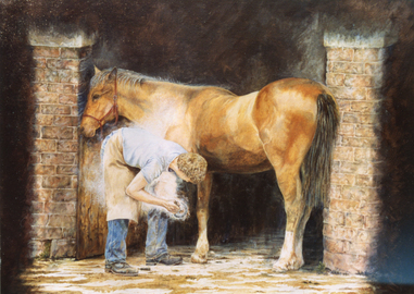 Farrier Hot-Shoeing a Horse, Cockington Village