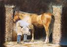 Farrier Hot-Shoeing a Horse, Cockington Village