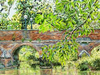 Leatherhead Bridge with Swans