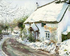 Snow Covered Thatch Cottage, Lustleigh, Devon